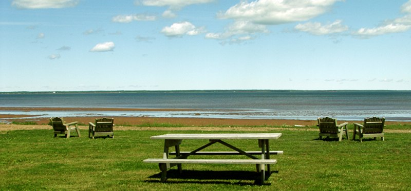 Picnic table by the sea