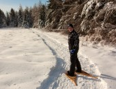 Snowshowing on the trails near the Amherst Shore Country Inn