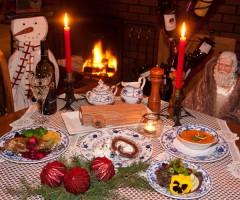 Christmas Dinner Feast with Yule Log