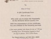 gift certificate - dinner